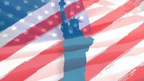 Freiheitsstatue und amerikanische Flagge lizenzfreie abbildung