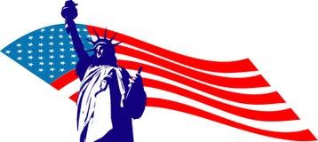 Freiheitsstatue und die USA-Markierungsfahne Stockfoto