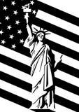 Freiheitsstatue und US-Markierungsfahne Lizenzfreie Stockfotos