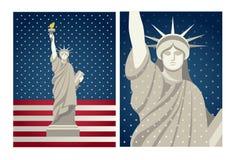 Freiheitsstatue Vektorweinlesedesign für Juli 4. USA stock abbildung