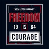 Freiheitstypographie-Grafikdesignt-stück für T-Shirt lizenzfreie abbildung