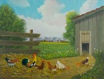 Freilaufende Hühner und ein Hahn vor einem Stall vektor abbildung