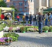 Freilichtmarkt in Leuben, Belgien Stockfotografie