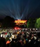 Freiluftkonzert einer Sommer-Nacht von den ausgezeichneten G?rten des Schonbrunn-Palastes mit dem philharmonischen Orchester von  lizenzfreies stockbild