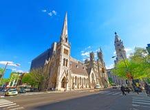 Freimaurertempel und Straße in der alten Stadt in Philadelphia Stockfotos