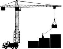 Frein de grue et de grue à tour d'équipements de construction de bâtiments Photos stock