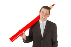 Freindly businessman with red pencil Royalty Free Stock Images
