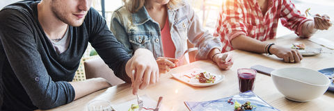 Freindship Hangout Relaxaing Eating Salad Meeting Concept Stock Photos