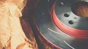 Freio de disco é uma parte do uso do carro para a parada o carro Fotos de Stock Royalty Free