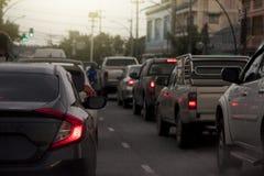 Freio dos carros na estrada Foto de Stock