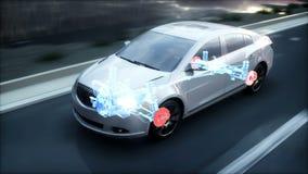 Freios do carro raio x Carro na estrada Animação 4K realística filme