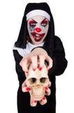 A freira assustador no conceito do Dia das Bruxas fotografia de stock