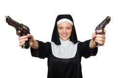 Freira com revólver Foto de Stock