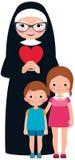 Freira e crianças superiores menina e menino Imagem de Stock Royalty Free