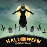 Freira má de Dia das Bruxas em um cemitério da noite ilustração stock