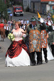 Freischiessen Helsen 2010. BAD AROLSEN-HELSEN, GERMANY - MAY 24: king of marksmen and his wife taking part in the pageant of marksmen's festival , Helser royalty free stock photos