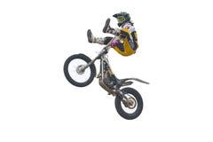 Freistilmotorrad in der Luft. Getrennt auf Weiß. Stockfotos