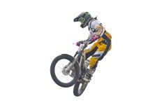 Freistilmotorrad in der Luft. Getrennt auf Weiß. Lizenzfreies Stockbild