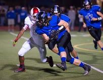 Freitag Abend Wiederaufnahme des Licht-Highschool Fußball-ungeschickten Versuchs Stockfotos