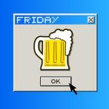Freitag-Biermitteilung Stockfoto