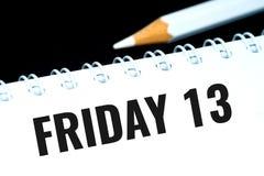 Freitag, den 13., schwarzer Text im persönlichen Organisator Stockfotos