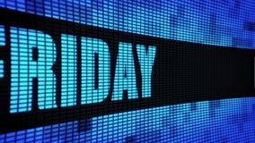 Freitag-Seitentext, der LED-Wand-Anzeigetafel-Zeichen-Brett in einer Liste verzeichnet stock video footage