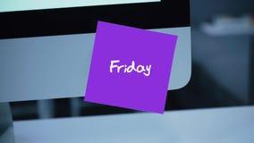 freitag Tage der Woche Die Aufschrift auf dem Aufkleber auf dem Monitor stock abbildung