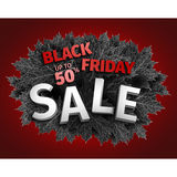 Freitag-Verkaufstagdesign des Schwarzen 3d Schwarzer realistischer Herbstlaub Auch im corel abgehobenen Betrag Vektor ENV 10, sch Stockfoto