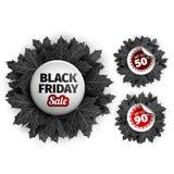 Freitag-Verkaufstagdesign des Schwarzen 3d Schwarzer realistischer Herbstlaub Auch im corel abgehobenen Betrag Vektor ENV 10, sch Stockfotos