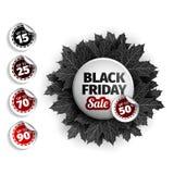 Freitag-Verkaufstagdesign des Schwarzen 3d Schwarzer realistischer Herbstlaub Auch im corel abgehobenen Betrag Vektor ENV 10, sch Lizenzfreies Stockfoto