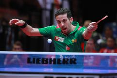 Freitas Marcos backhand. Freitas Marcos from Portugal backhand. 2017 European Championships - 1/4 Final. Luxembourg Royalty Free Stock Photos