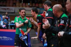 Freitas Marcos celebrate. Freitas Marcos from Portugal celebrate against Gacina Andrej. 2017 European Championships - quarter final. Luxembourg Royalty Free Stock Photos