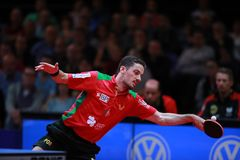 Freitas Marcos forehand. Freitas Marcos from Portugal forehand against Timo Boll. 2017 European Championships - Final. Luxembourg Stock Photos