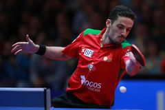 Freitas Marcos forehand. Freitas Marcos from Portugal forehand against Timo Boll. 2017 European Championships - Final. Luxembourg Royalty Free Stock Images