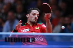 Freitas Marcos forehand. Freitas Marcos from Portugal forehand. 2017 European Championships - Final. Luxembourg Royalty Free Stock Photo