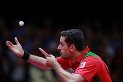 Freitas Marcos on serve. Freitas Marcos from Portugal on serve against Timo Boll. 2017 European Championships - Final. Luxembourg Royalty Free Stock Images