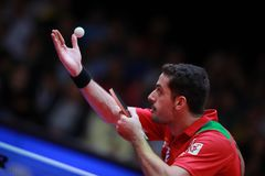 Freitas Marcos on serve. Freitas Marcos from Portugal on serve. 2017 European Championships - Final. Luxembourg Royalty Free Stock Photos