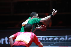 FREITAS Marcos on serve. FREITAS Marcos from Portugal on serve. Men`s Singles Round of 32 world table tennis championships in Dusseldorf. 29 May 6 june 2017 Royalty Free Stock Photos