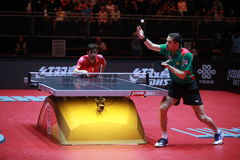 FREITAS Marcos on serve. FREITAS Marcos from Portugal on serve. Men`s Singles Round of 32 world table tennis championships in Dusseldorf. 29 May 6 june 2017 Stock Photo