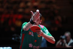 FREITAS Marcos on serve. FREITAS Marcos from Portugal on serve. Men`s Singles Round of 16 world table tennis championships in Dusseldorf. 29 May 6 june 2017 Stock Photos