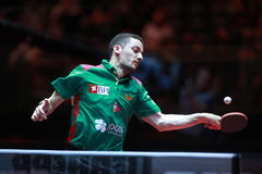 FREITAS Marcos top spin. FREITAS Marcos from Portugal top spin. Men`s Singles Round of 16 world table tennis championships in Dusseldorf. 29 May 6 june 2017 Royalty Free Stock Photography