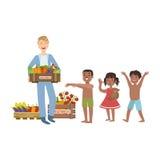 Freiwillig, das Lebensmittel holend den hungrigen Kindern stock abbildung