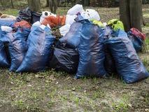 Freiwillig erbieten, Nächstenliebe, Reinigung, Leute und Ökologiekonzept - Abfalltaschen, die Bereich im Park säubern stockbild