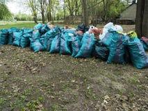 Freiwillig erbieten, N?chstenliebe, Reinigung, Leute und ?kologiekonzept - Abfalltaschen, die Bereich im Park s?ubern lizenzfreie stockbilder