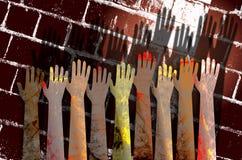 Freiwillig erbieten von Händen Stockfoto