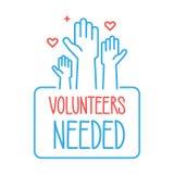 Freiwillige benötigtes Fahnendesign Vector Illustration für Nächstenliebe, Ehrenamt, Gemeinschaftshilfe Leute mit den Händen ange lizenzfreie abbildung