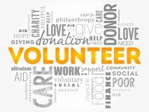 Freiwillige Wortwolkencollage Stockbild