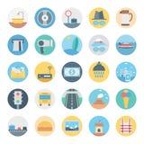 Freizeit, Reise und Ausflug lokalisierte Vektor-Ikone bestehen mit Straße, Verkehrszeichen, Kegel, Dollar, Schloss, ATM und Stran lizenzfreie abbildung
