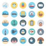 Freizeit, Reise und Ausflug lokalisierte Vektor-Ikone bestehen mit Zurücknahme, Bus, Kokosnuss, Strand, Taxi, Karte, Flugzeug und stock abbildung