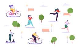 Freizeit-Tätigkeits-im Freien Konzept Aktive Charaktere, die in Park-, Mann-und Frauen-Reitfahrrad, Mädchen-Rollschuhlaufen laufe stock abbildung